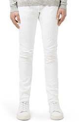 Men's Topman Aaa Collection Ripped Stretch Skinny Fit Jeans White
