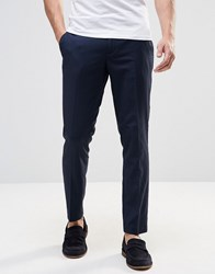 Sisley Tonal Polka Dot Trousers In Slim Fit Navy Blue