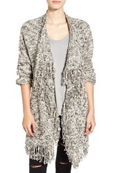 Sun And Shadow Women's Fringe Knit Blanket Cardigan