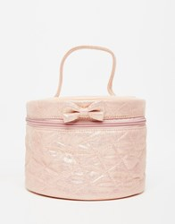 Bombay Duck Quilted Round Vanity Bag With Bow Pink
