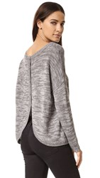 Bb Dakota Jack By Gilderoy Marled Buttoned Back Sweater Dark Charcoal