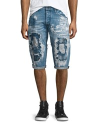 Prps Destroyed Bleach Splatter Denim Shorts Blue
