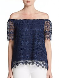 Polly Crochet Off The Shoulder Top Navy