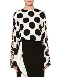 Msgm Long Sleeve Polka Dot Frisottino Top Black White Black White