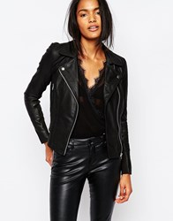 Y.A.S Sophie Soft Leather Biker Jacket Black