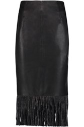 Sandro Jael Fringed Leather Midi Skirt Black