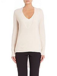 Halston Deep Scoopneck Merino Wool And Cashmere Sweater Parchment
