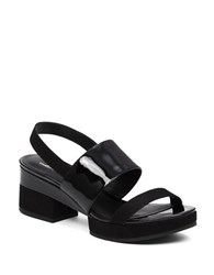 Delman Malia Leather Platform Sandals Black