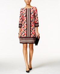Jessica Howard Three Quarter Sleeve Printed Shift Dress Coral Black Print