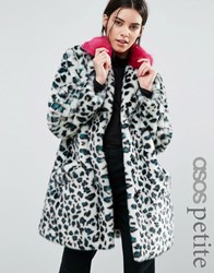 Asos Petite Faux Fur Coat In Leopard Print With Bright Collar Multi