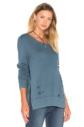 Pam And Gela Destroyed Side Slit Sweatshirt Blue