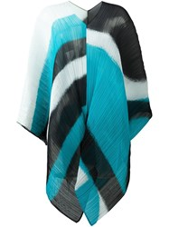 Issey Miyake Pleats Please By Ribbed Printed Poncho Multicolour