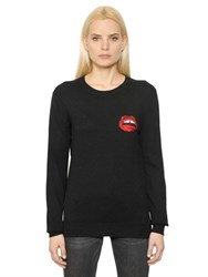 Markus Lupfer Sequin Lips Merino Wool Knit Sweater