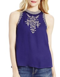 Jessica Simpson Embroidered Sleeveless Top Blue