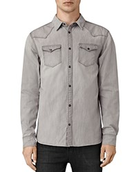 Allsaints Pirnmill Slim Fit Button Down Shirt Gray