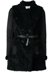 Urbancode Faux Shearling Belted Coat Black