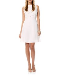 Laundry By Shelli Segal Sleeveless A Line Floral Applique Dress Optic White