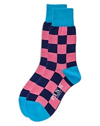 Thomas Pink Gingham Socks Navy Pink