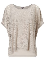 Phase Eight Fatima Floral Burnout Top Mushroom