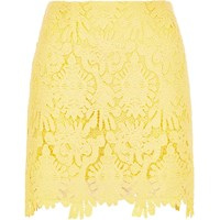 River Island Womens Yellow Scalloped Hem Mini Skirt
