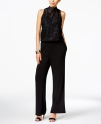 Inc International Concepts Petite Embroidered Illusion Jumpsuit Only At Macy's Black