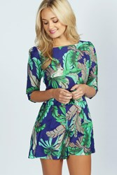 Yusra Tropical Parrot Print 3 4 Sleeve Playsuit