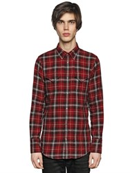 Dsquared Plaid Cotton Flannel Western Shirt