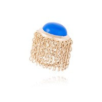 Mateo Brown Muna Ring Blue Chalcedony Blue Gold