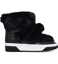 Michael Michael Kors Nala Leather And Faux Fur Ankle Boots Black