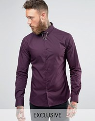 Noose And Monkey Skinny Shirt In Plum With Collar Bar Plum Green