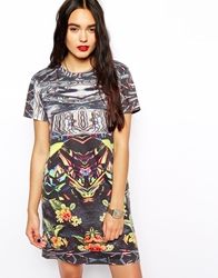 Hype T Shirt Dress With Mixed Floral Print Multi