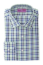 Lorenzo Uomo Trim Fit Cross Hatch Check Long Sleeve Dress Shirt Blue