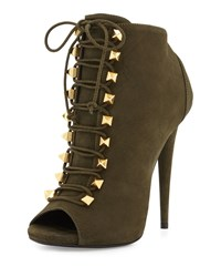 Giuseppe Zanotti Suede Lace Up High Heel Bootie Olive Green