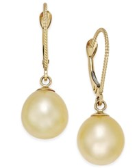 Macy's Cultured Oval Golden South Sea Pearl 9Mm Drop Earrings In 14K Gold Yellow