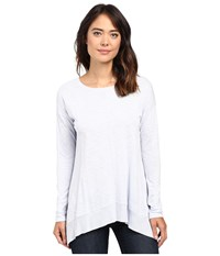 Lilla P Pima Modal Slub Long Sleeve Rib Boat Neck Iceberg Women's Clothing Blue