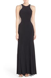 Xscape Evenings Women's Xscape Beaded Mesh And Jersey Gown Black Nude Silver