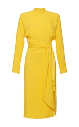 Salvatore Ferragamo Cady Long Sleeve Tie Dress Yellow