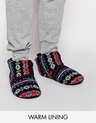 Asos Slipper Boots In Fairisle With Warm Linings Navy