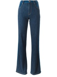 See By Chloe Stripe Applique Flared Jeans Blue