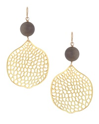 Devon Leigh Druzy Honeycomb Earrings Gray