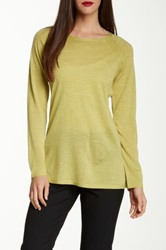 Eileen Fisher Crew Neck Merino Wool Pointelle Sweater Yellow