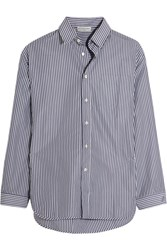 Balenciaga Oversized Striped Poplin Shirt Navy