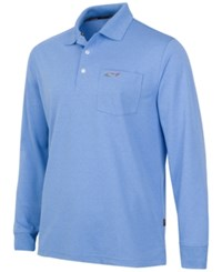 Greg Norman For Tasso Elba Big And Tall 5 Iron Long Sleeve Performance Polo China Blue Heather