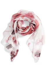 Women's Nordstrom 'Winded Blooms' Silk Chiffon Square Scarf Pink Pink Combo