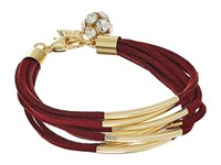 Guess Multi Strand Faux Suede With Metal Tubes Bracelet Burgundy Gold Crystal Bracelet Red