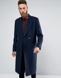 Asos Wool Mix Overcoat With Military Styling In Navy Navy
