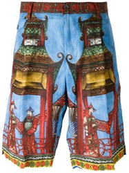 Dolce And Gabbana Chinese Print Shorts Blue
