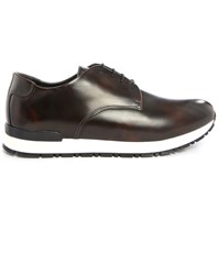 Armani Collezioni Brown Glazed Calfskin White Gumsole Sneakers