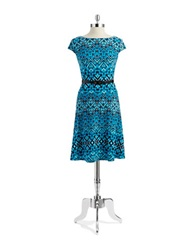 Anne Klein Tribal Print Dress Mykonos Blue