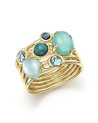 Ippolita 18K Yellow Gold Rock Candy Gelato Semi Precious Multi Stone Ring In Waterfall Blue Gold